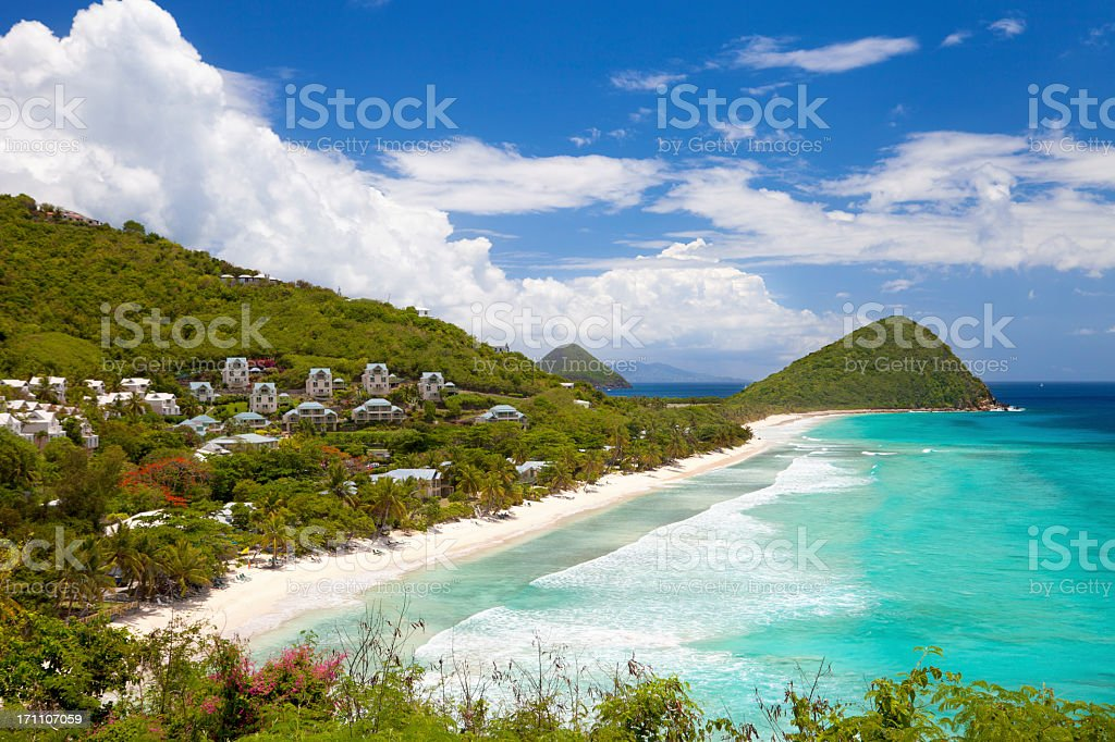 high angle view of Long Bay, Tortola, British Virgin Islands stock photo