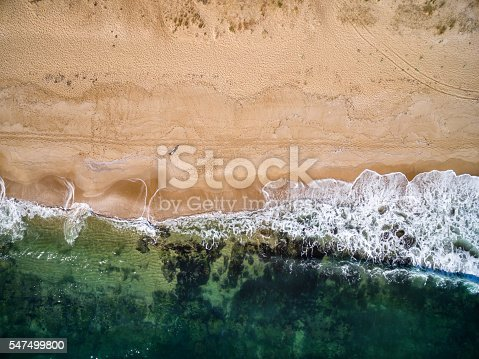 istock High angle view of man standing on the beach 547499800