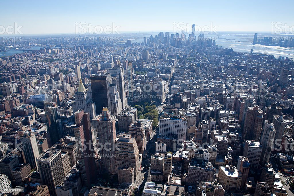 High angle view of Manhattan in New York City stock photo