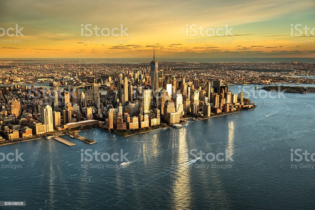 High angle view of Manhattan island stock photo
