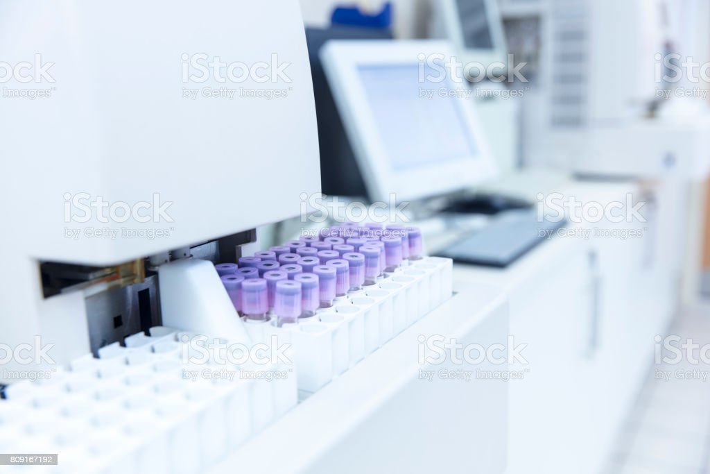 High angle view of medical samples and machinery stock photo