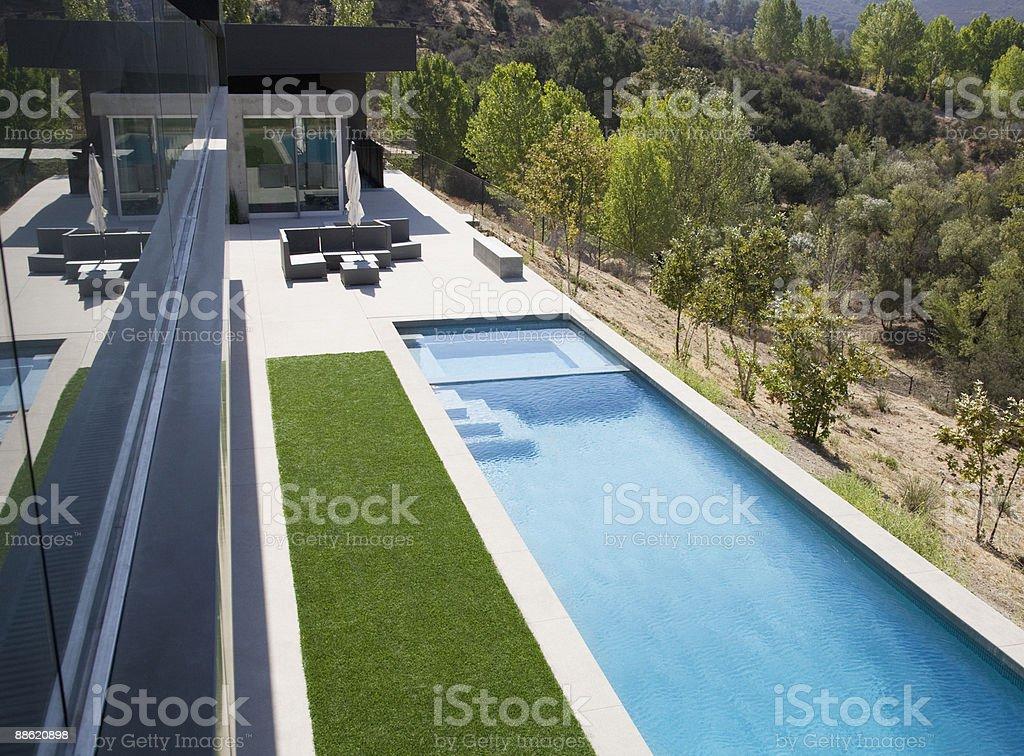 High angle view of modern swimming pool stock photo