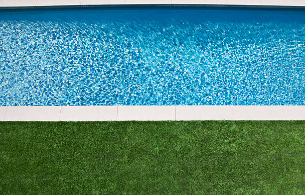 High angle view of modern swimming pool  backyard pool stock pictures, royalty-free photos & images