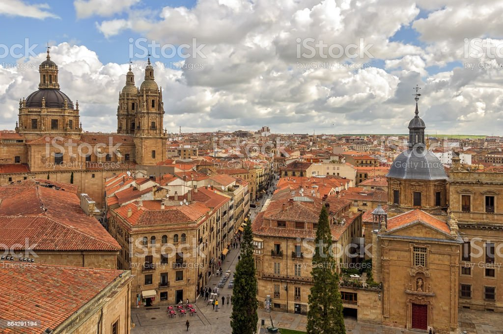 High angle view of monumental downtown in Salamanca, Spain. royalty-free stock photo