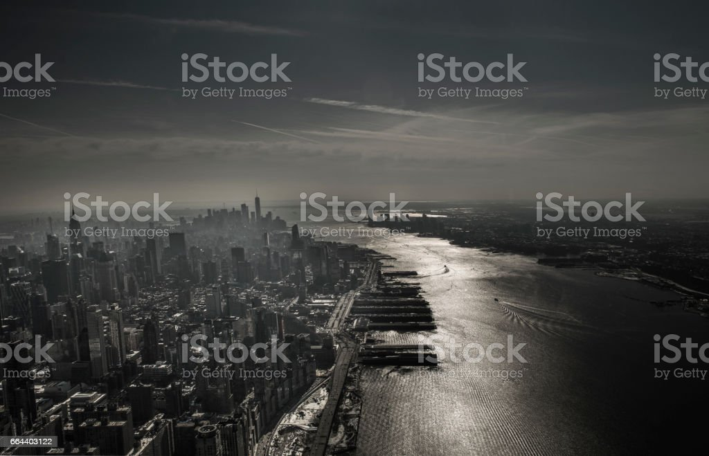 High angle view of New York City skyline via helicopter stock photo