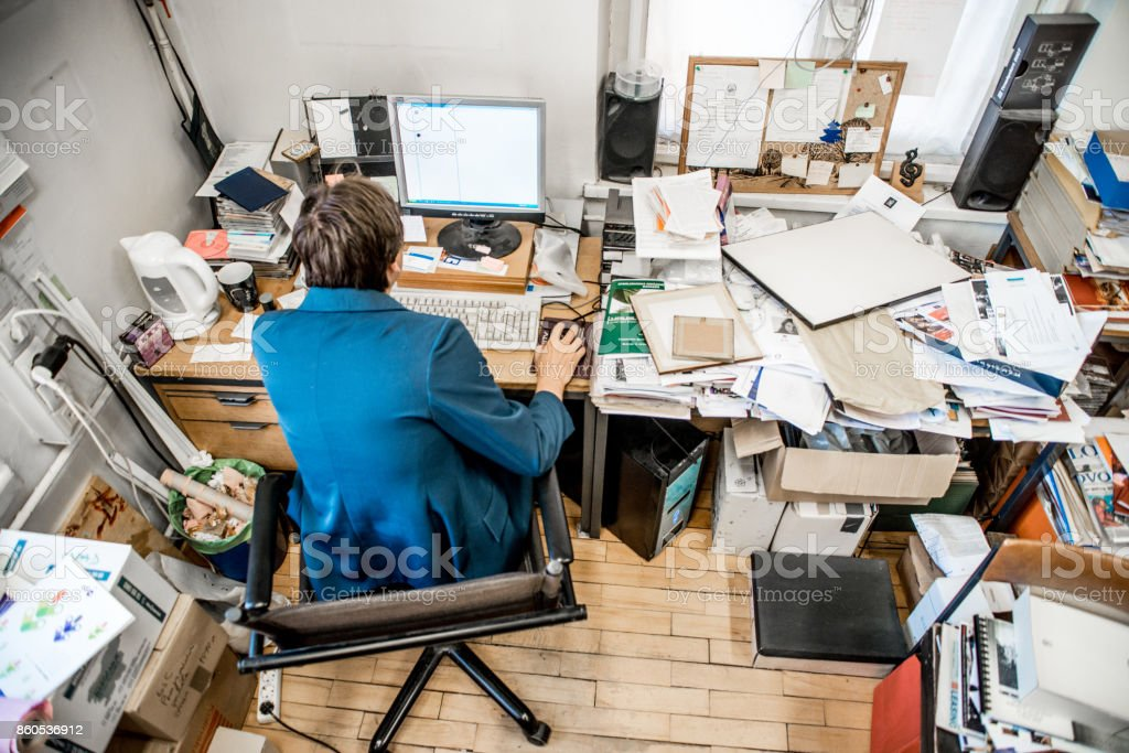 High Angle View Of Office Worker Working On Computer stock photo