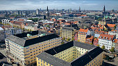 high angle view of old buildings of Copenhagen, Denmark