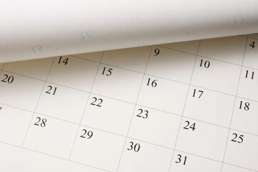 High angle view of opened Calendar