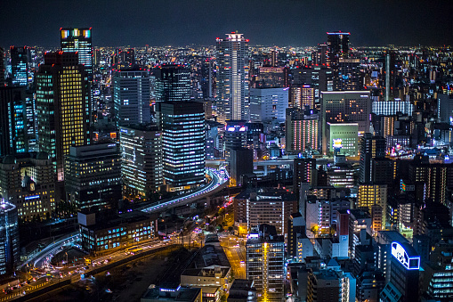 High angle view of Osaka city at night