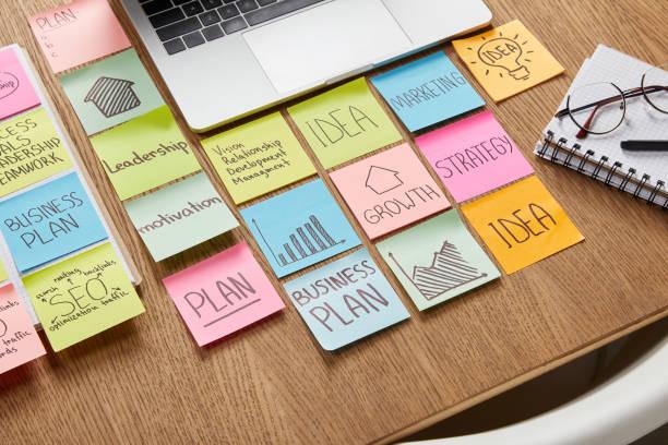 Vogelperspektive Blick auf Papier Sticker mit Laptop und Geschäftsstrategie auf Tischplatte – Foto