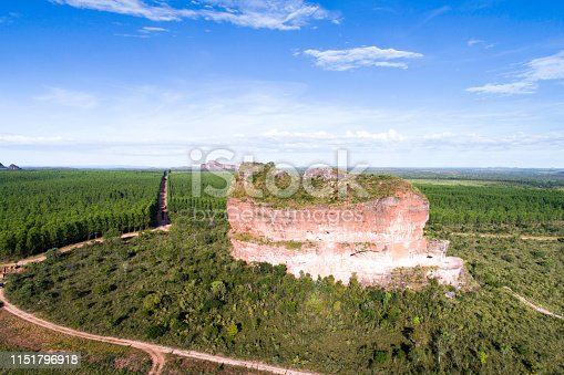High angle view of Pedra Furada hill in Jalapão State Park, Tocantins