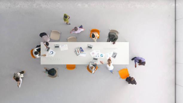 Hochwinkelansicht der Menschen bei der Arbeit – Foto