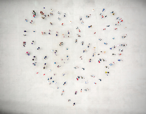 High Angle View Of People forming a heart
