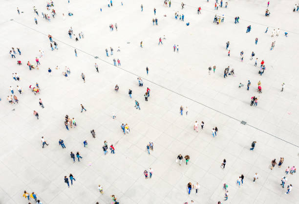 High Angle View Of People On Street stock photo