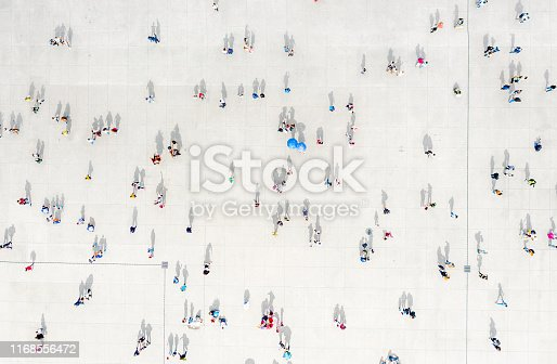 High Angle View Of People On Street