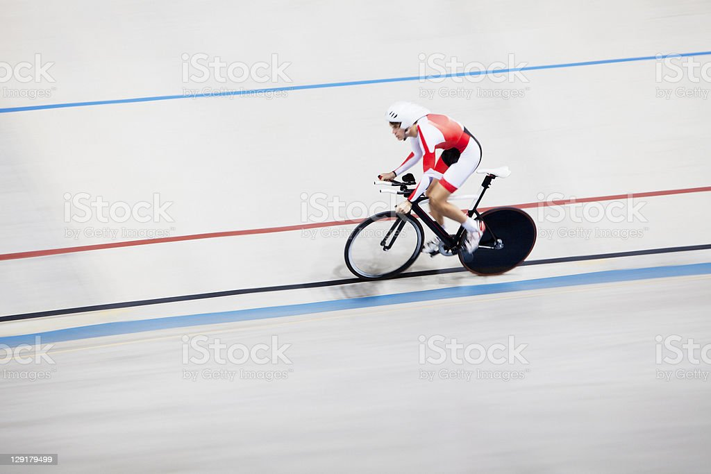 High angle view of person riding bicycle in race stock photo