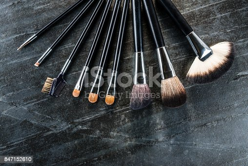 847152782 istock photo high angle view of professional cosmetic brush 847152610