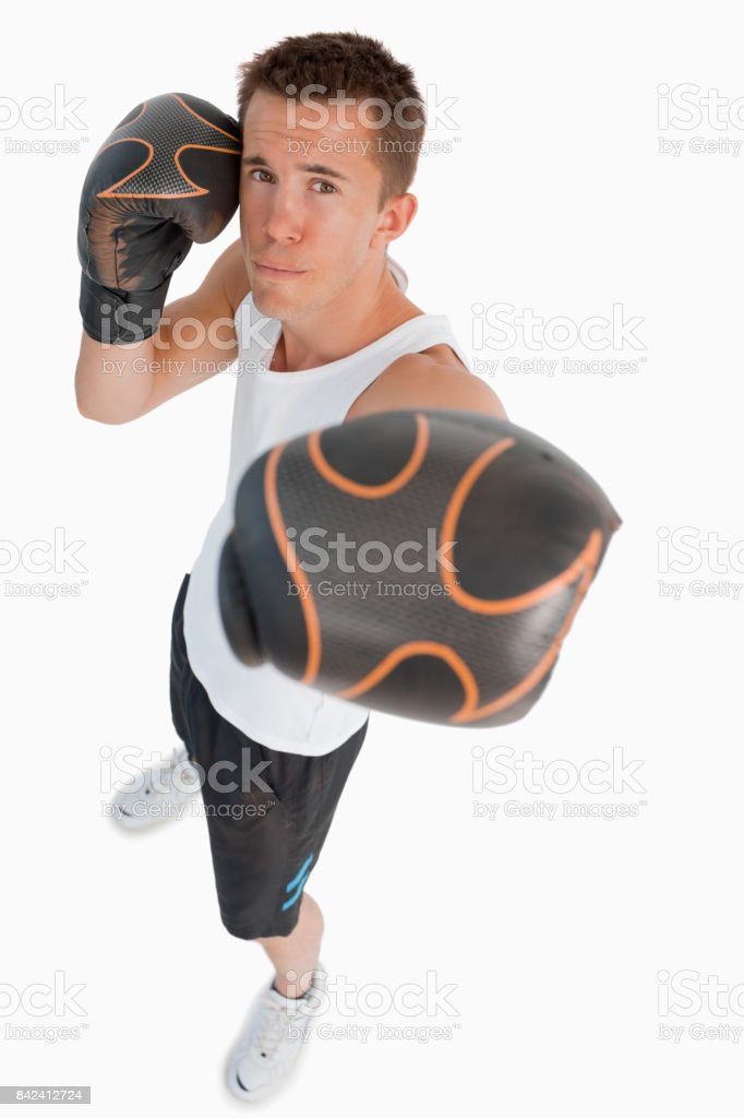 High angle view of punching boxer stock photo