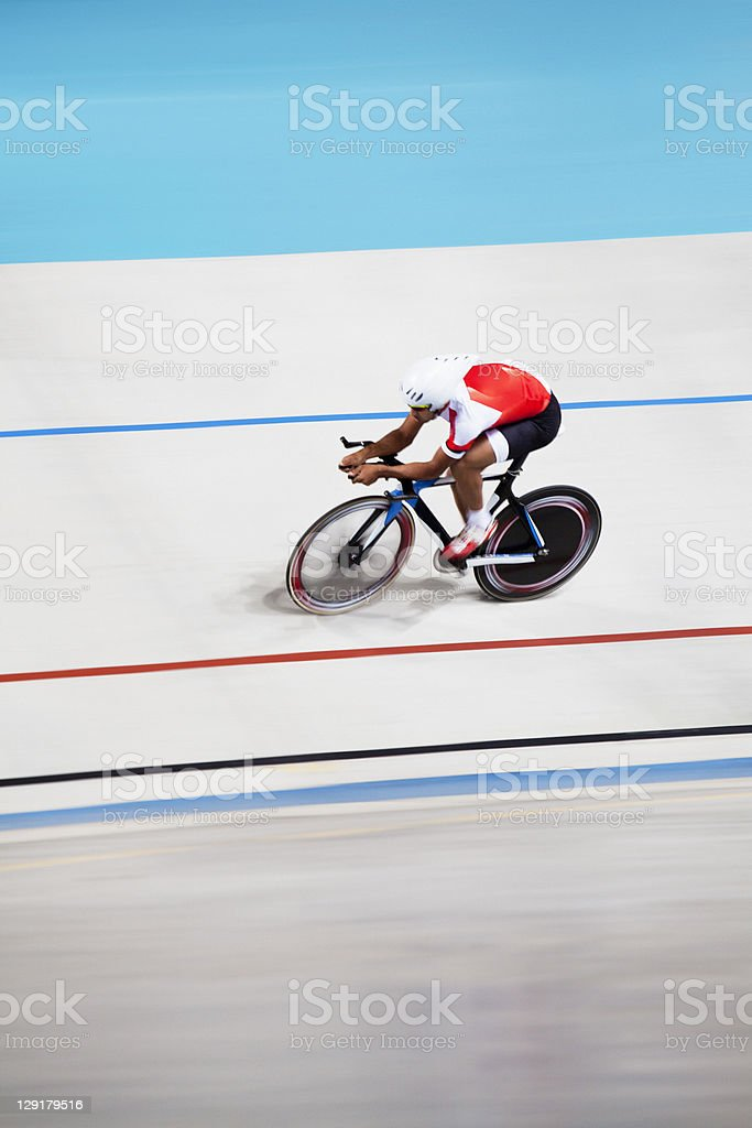 High angle view of rider riding bicycle stock photo