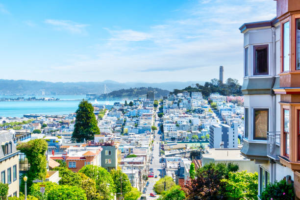 High Angle View of San Francisco Skyline High-angle view of San Francisco skyline at Lombard Street toward San Francisco Bay in downtown North Beach community showing Fisherman's Wharf and Coit Tower. san francisco bay stock pictures, royalty-free photos & images