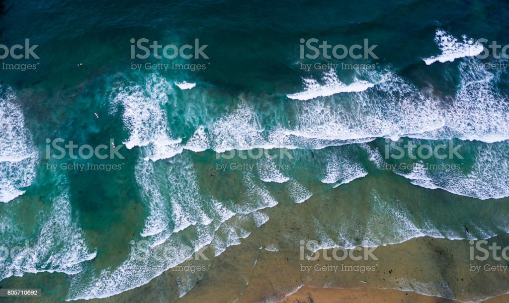High angle view of sea stock photo