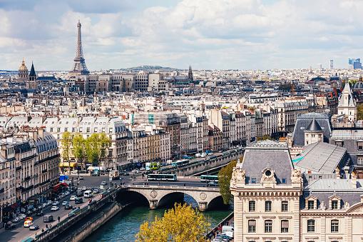 Panoramic high angle view of Paris city