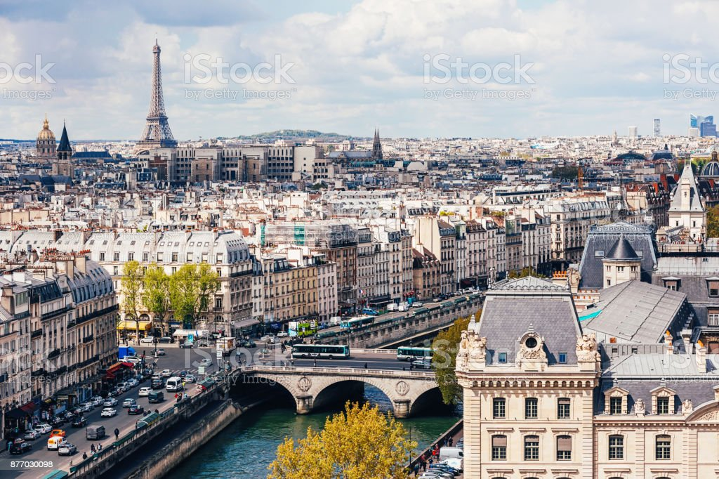 High angle view of Seine River with Eiffel Tower in the background stock photo