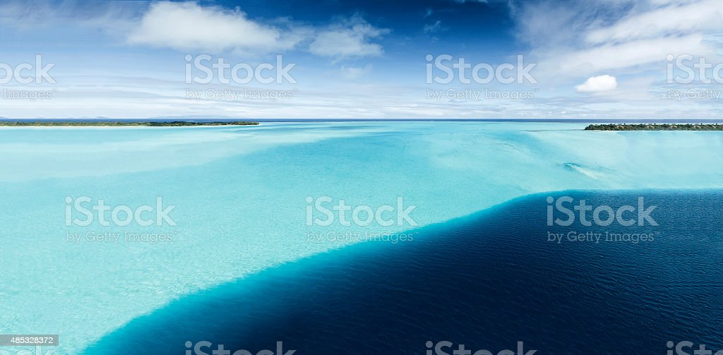 High Angle View of Shades of Blue in Bora Bora stock photo