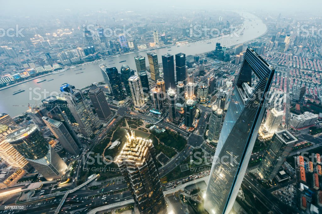 High Angle View Of Shanghai Skyline at Dusk royalty-free stock photo