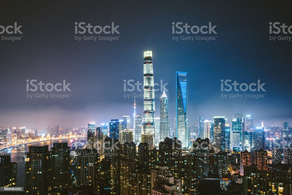 High Angle View Of Shanghai Skyline at Night stock photo