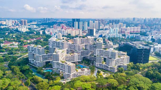 Vogelperspektive Blick auf Singapur Stadt – Foto
