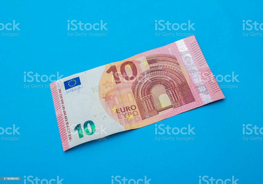 High angle view of single ten euro banknote stock photo