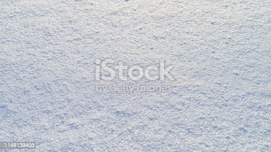istock High angle view of snow texture, background with copy space. Snow texture or winter white background with grain rough pattern 1149139403