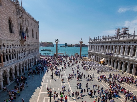 A high angle view of St Marks Square in Venice, Italy