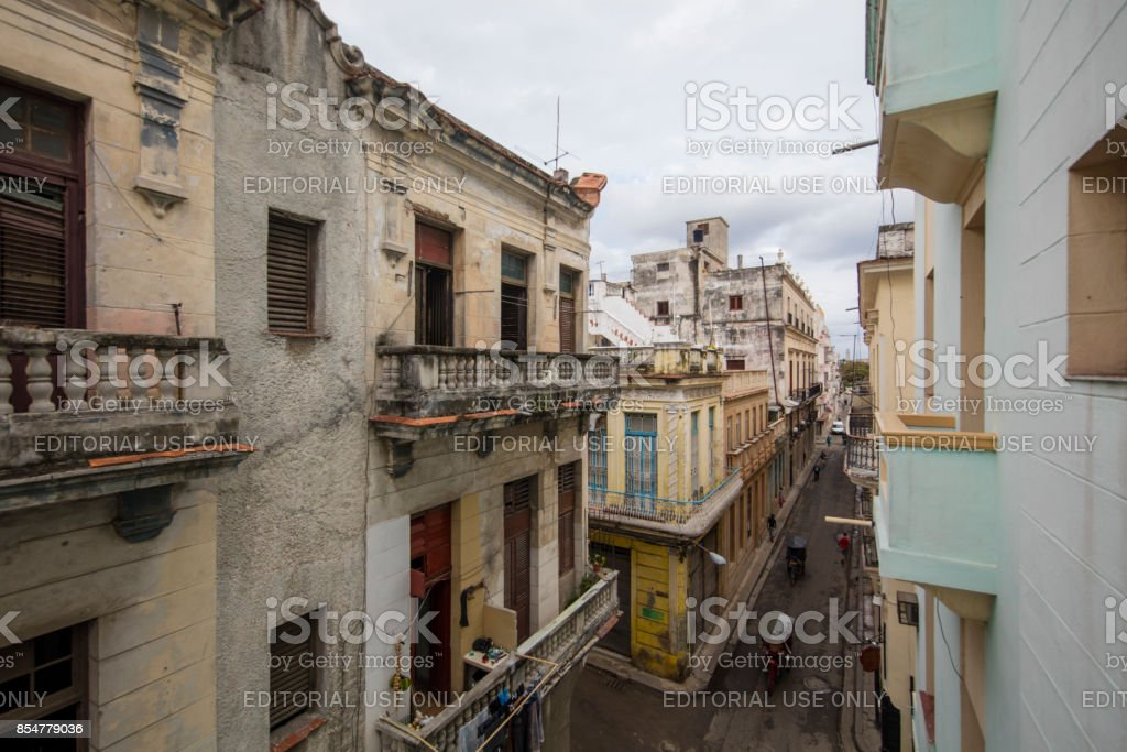 High angle view of Streets of havana, cuba stock photo