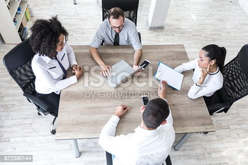847516586 istock photo High angle view of team working in office 872390144