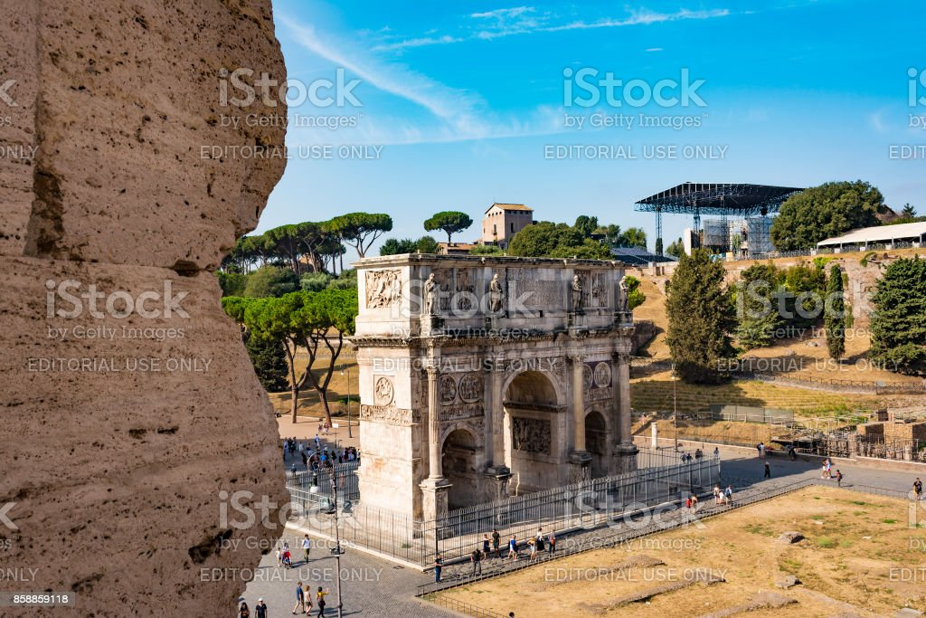 High angle view of the Arch of Constantine from the Colosseum stock photo