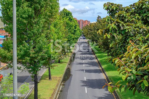 Bogota, Colombia - High angle view of the eastbound lanes of Calle 100 or 100 Street, in the La Castellana area of the Colombian Capital city of Bogota. Today, inspite of increasing relaxation of the Lockdown rules, there is not much traffic on the road.  To the right is a row of Southern Magnolia trees.  The elevation at street level is about 8500 feet above mean sea level. Horizontal Format.