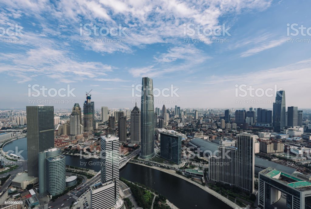 High angle view of Tianjin Skyline at daytime stock photo