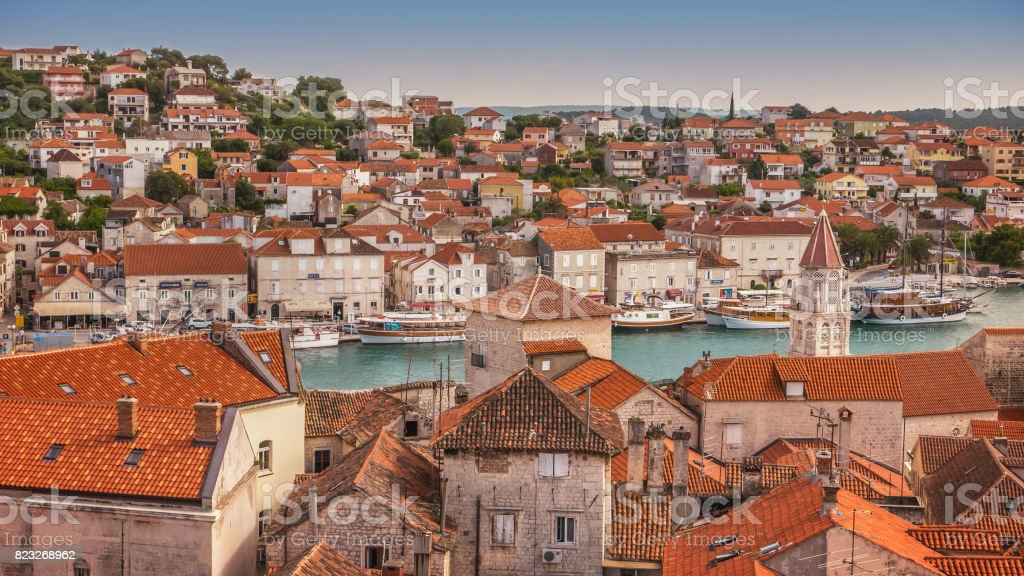 High angle view of Trogir, Croatia, a UNESCO world heritage site. stock photo