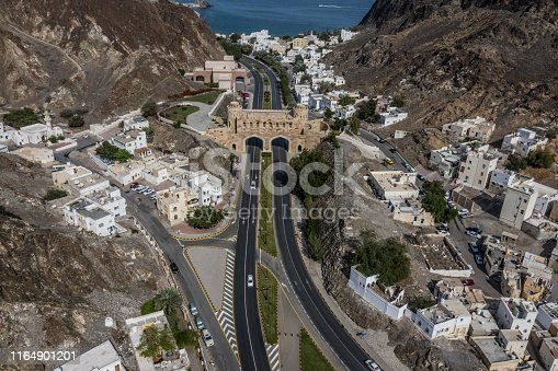 High angle view of two lanes of Al Bahri road in Old Muscat, Oman