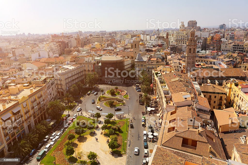 High angle view of Valencia skyline stock photo