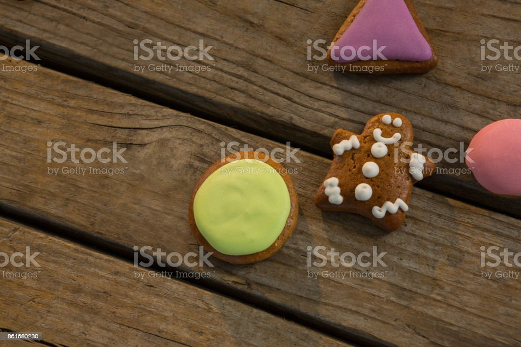 High angle view of various cookies on table during Christmas stock photo