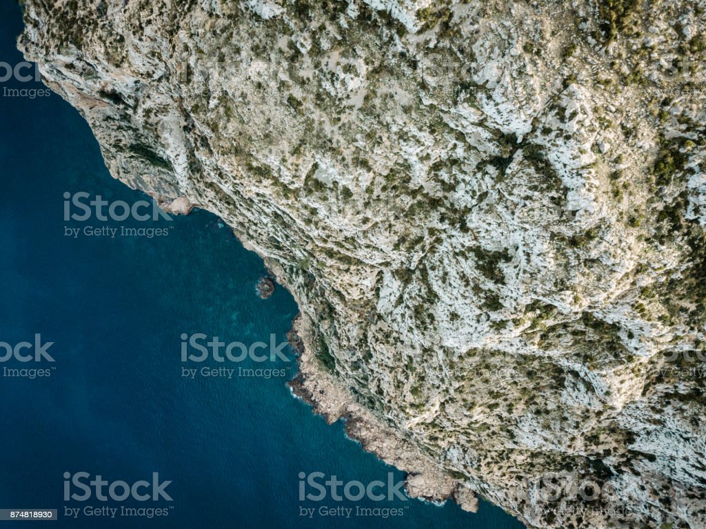 High Angle View Of Water and Rocks stock photo