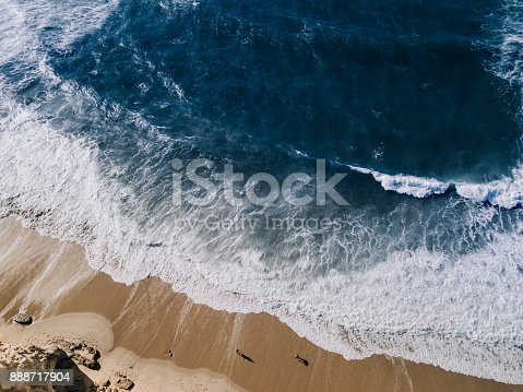Droneshot, High Angle View Of Water and Rocks, Portugal