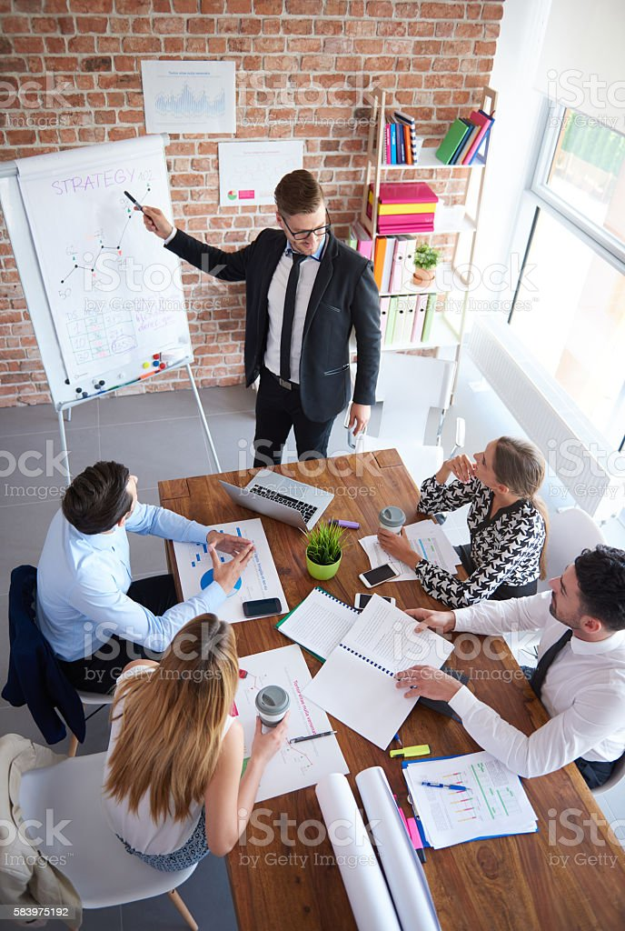 High angle view on business meeting stock photo