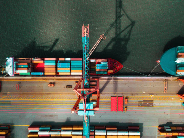 high angle view on Cargo crane container terminal high angle view on Cargo container terminal in Hamburg port drone point of view stock pictures, royalty-free photos & images