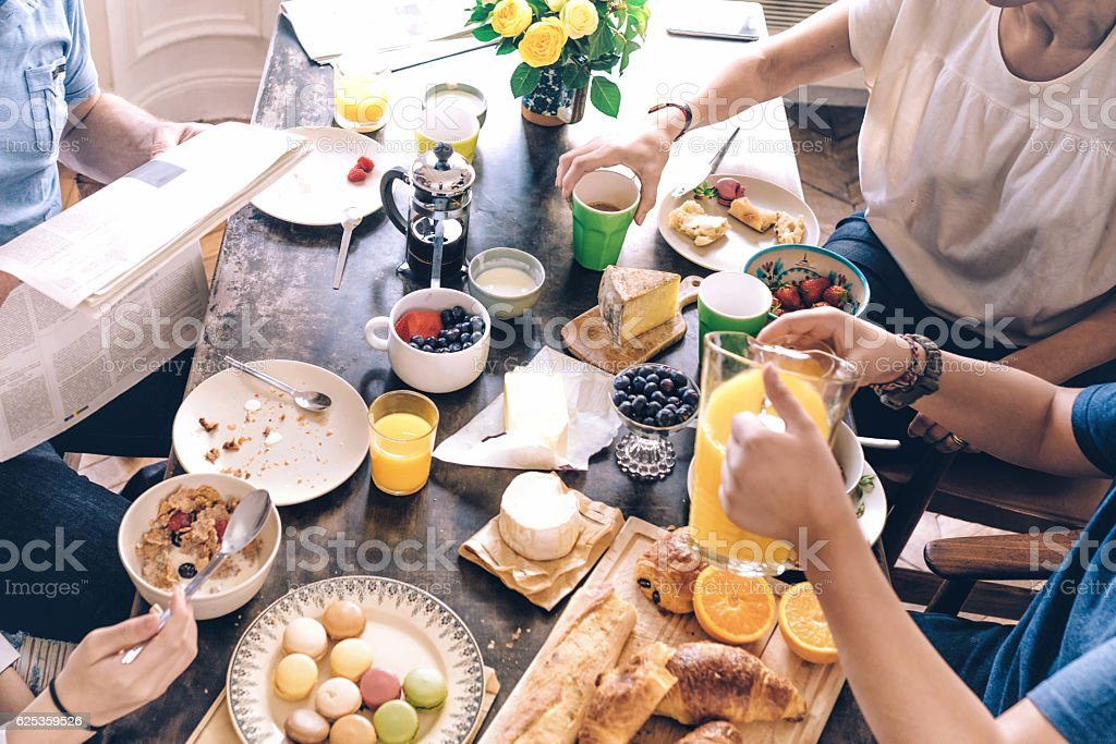 high angle view on french family breakfast table – Foto