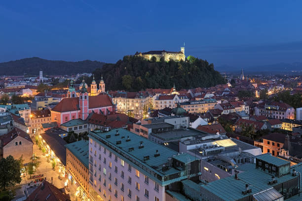 High angle view on the historical part of Ljubljana in dusk, Slovenia stock photo