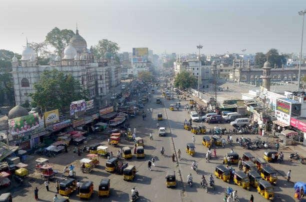 High angle view over busy intersection in India stock photo